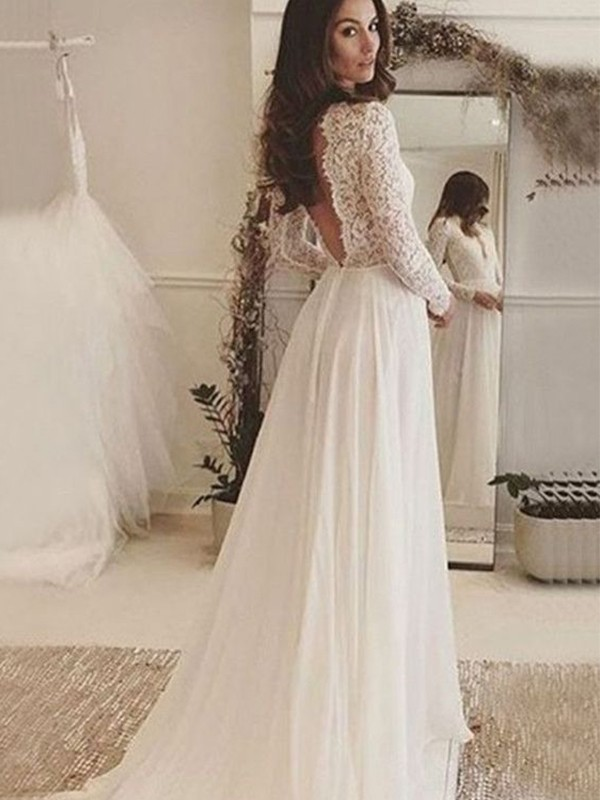 Stylish Refresh Princess Style Chiffon Lace Scoop Sweep/Brush Train Wedding Dresses