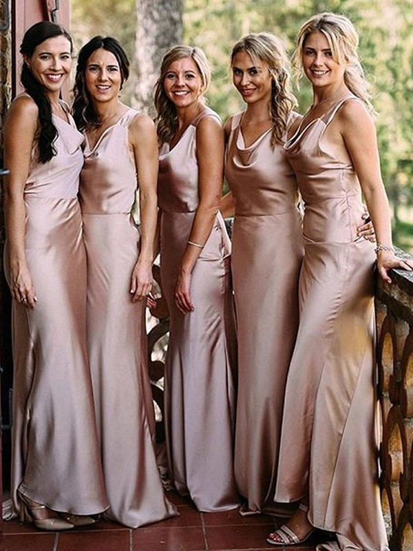 Automatic Classic Sheath Style V-neck Floor-Length Silk like Satin Bridesmaid Dresses