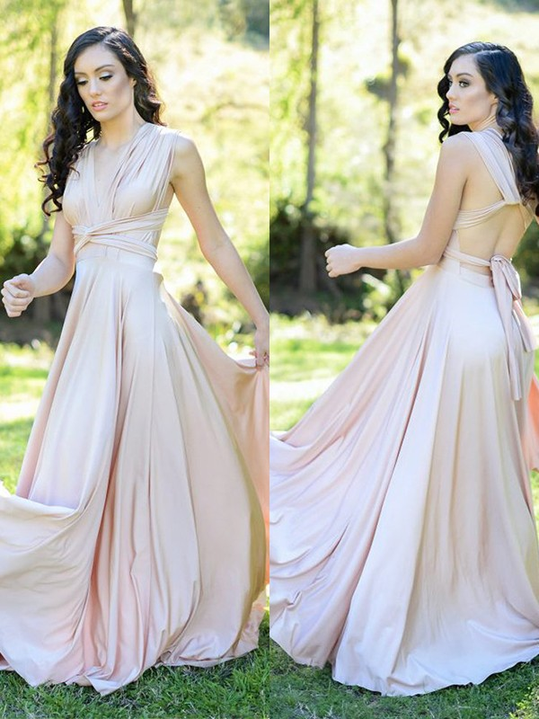 Festive Self Princess Style Silk like Satin With Ruffles V-neck Floor-Length Bridesmaid Dresses