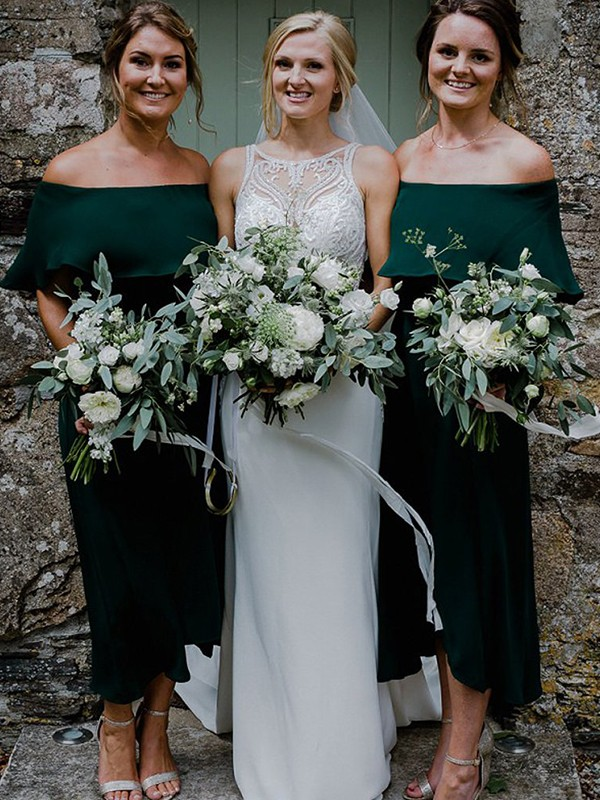 Styled to Smile Princess Style Chiffon With Ruffles Off-the-Shoulder Ankle-Length Bridesmaid Dresses