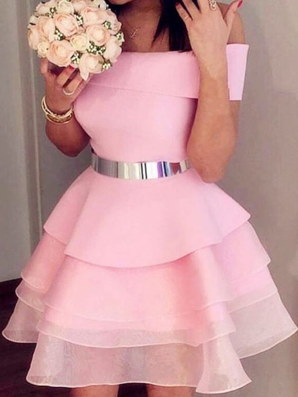 Modern Mood Princess Style Organza Sash/Ribbon/Belt Off-the-Shoulder Short/Mini Homecoming Dresses