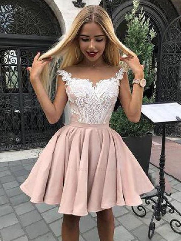 Savor the Occasion Princess Style Satin Applique Off-the-Shoulder Short/Mini Homecoming Dresses