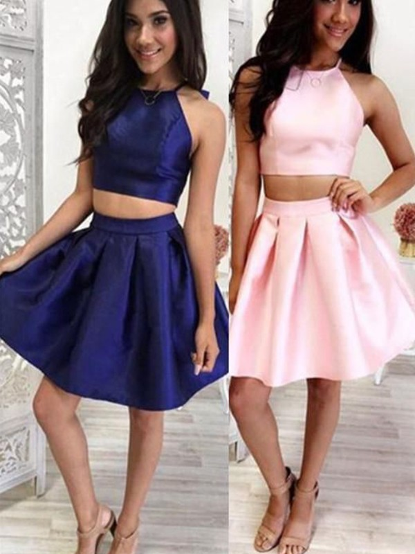 Chic Chic London Princess Style Satin Ruffles Halter Short/Mini Two Piece Homecoming Dresses