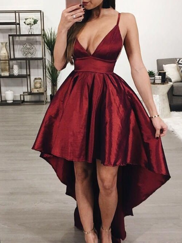 Desired Spotlight Princess Style Satin Ruffles Spaghetti Straps Asymmetrical Homecoming Dresses