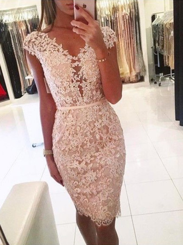 Creative Courage Sheath Style Lace V-neck Knee-Length Homecoming Dresses