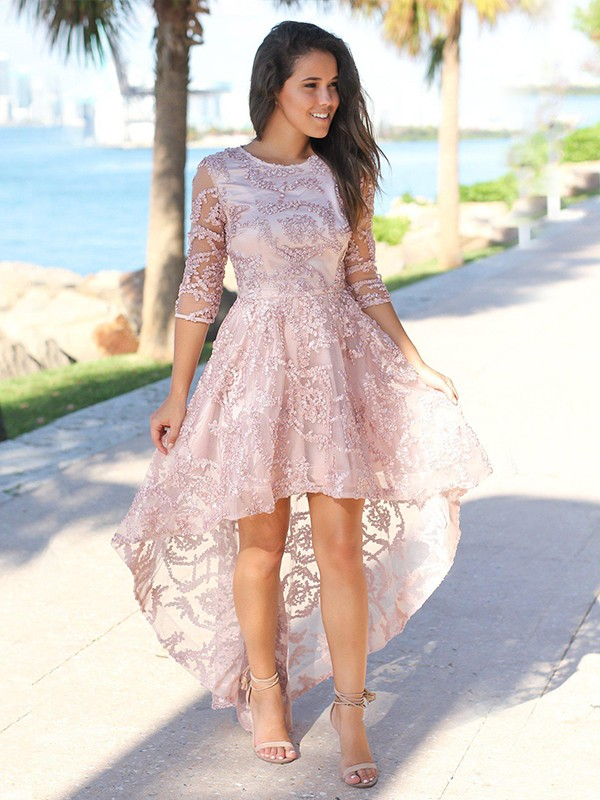 Pleased to be Me Princess Style Satin Applique Sheer Neck 3/4 Sleeves Asymmetrical Homecoming Dresses