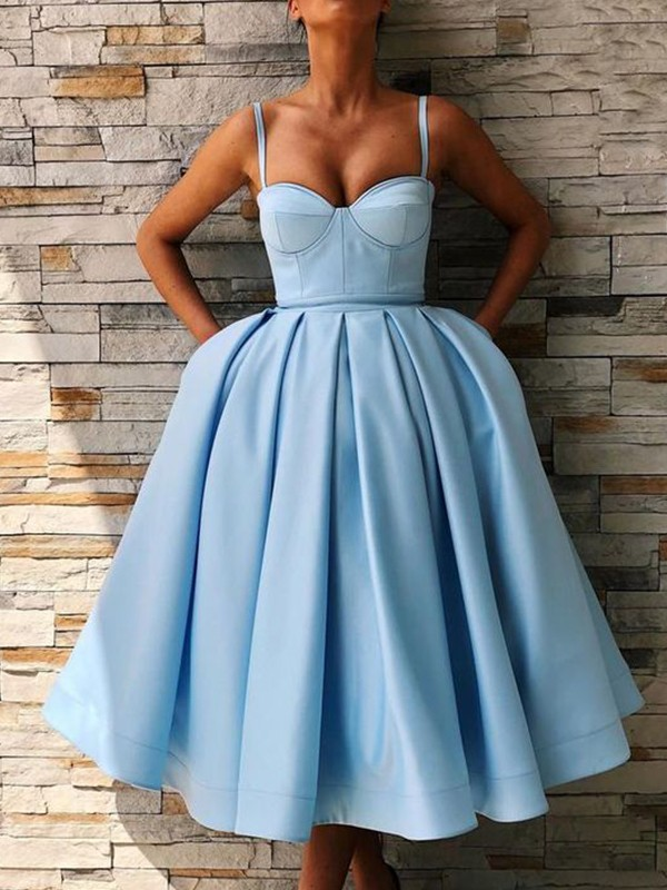 Romantic Vibes Ball Gown Satin Ruffles Spaghetti Straps Tea-Length Homecoming Dresses