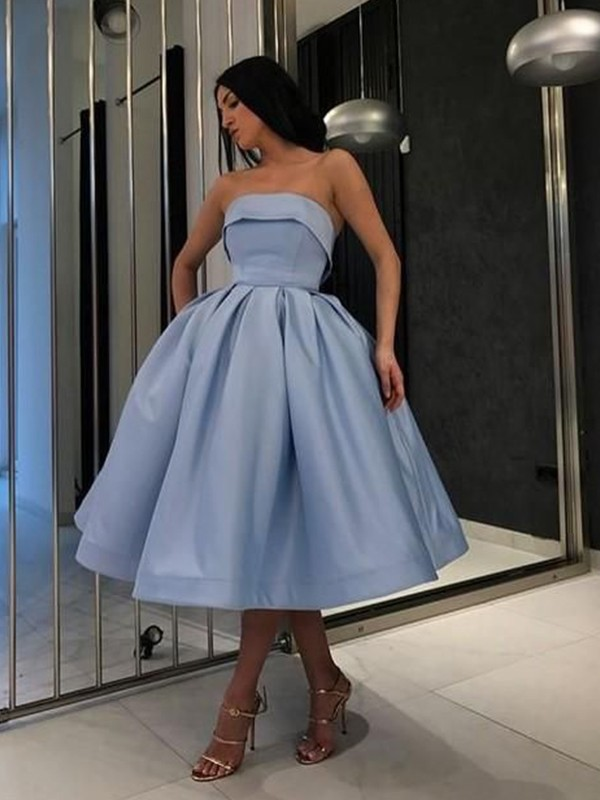 Defined Shine Ball Gown Satin Ruffles Strapless Tea-Length Homecoming Dresses