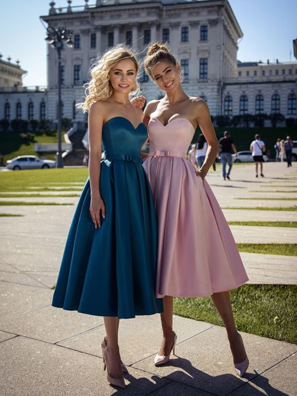 Touch of Texture Princess Style Satin Bowknot Sweetheart Tea-Length Homecoming Dresses