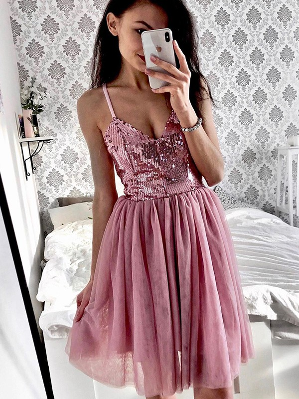Sweet Sensation A-Line Tulle Sequin Spaghetti Straps Short Homecoming Dresses