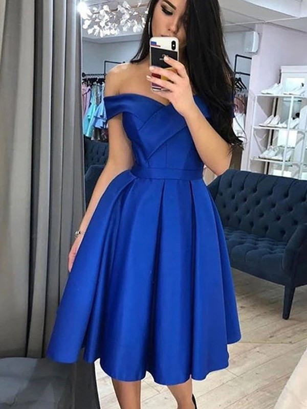 Sweet Sensation A-Line Satin Ruffles Off-the-Shoulder Knee-Length Homecoming Dresses