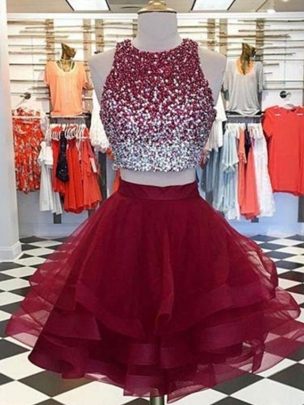Pretty Looks A-Line Scoop Organza Beading Short Homecoming Dresses