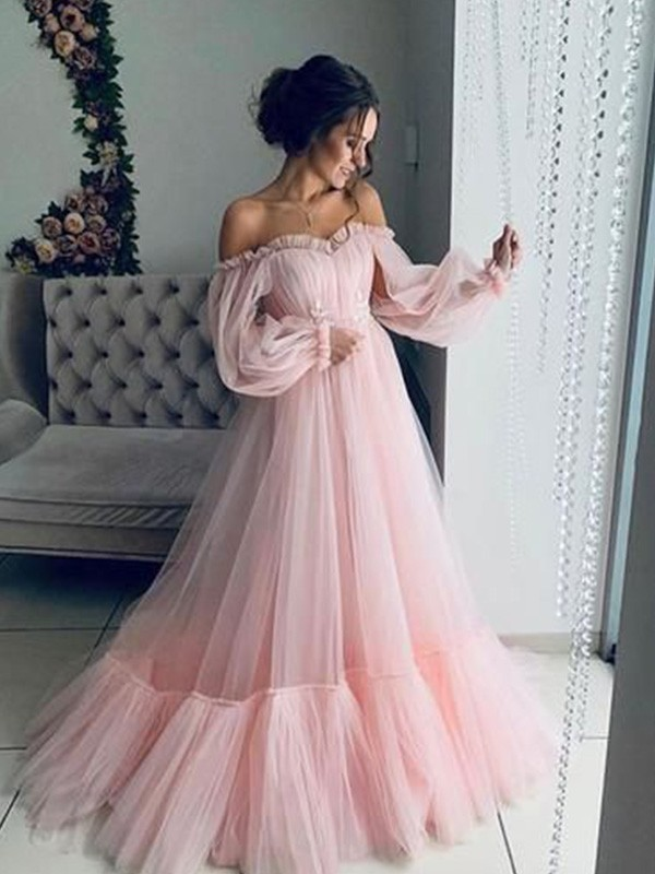 Pretty Looks A-Line Tulle Applique Off-the-Shoulder Long Train Pink,Blue Prom Dresses