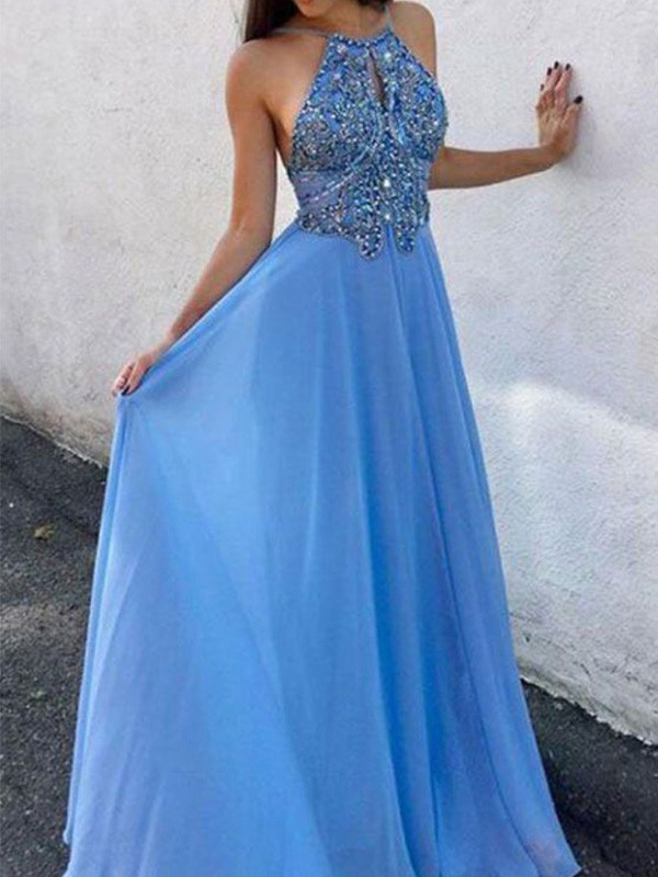 Pretty Looks A-Line Chiffon Beading Halter Long Blue Prom Dresses