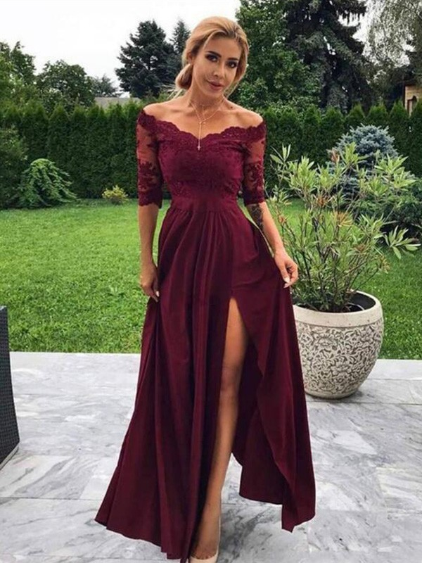 Pretty Looks A-Line Satin Applique Off-the-Shoulder Long Burgundy Prom Dresses