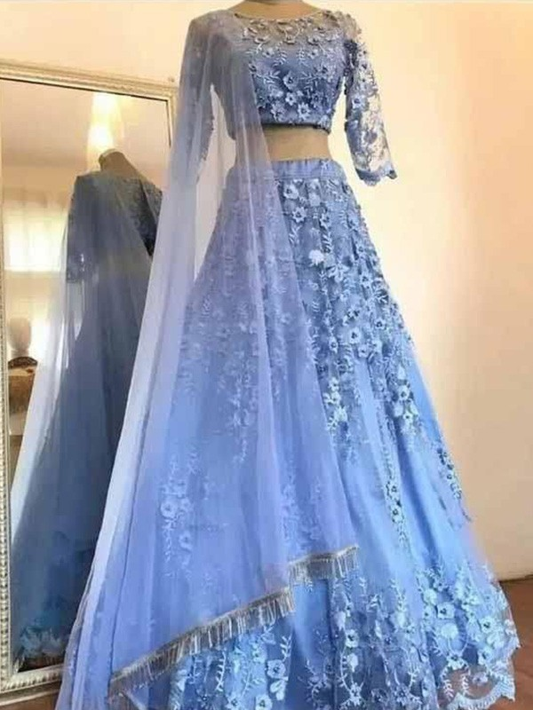 Pretty Looks A-Line Tulle Applique Scoop Long Two Piece Blue Prom Dresses
