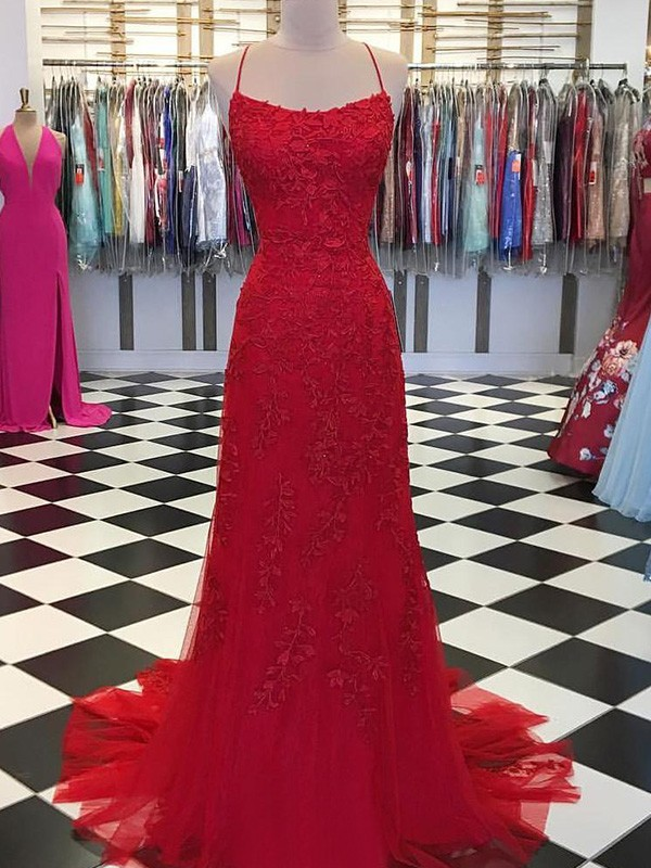 Just My Style A-Line Tulle Applique Spaghetti Straps Long Train Red Prom Dresses