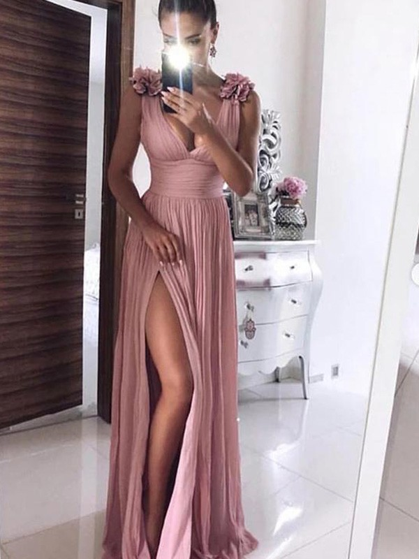Just My Style A-Line Chiffon V-neck Hand-Made Flower Long Pink Prom Dresses