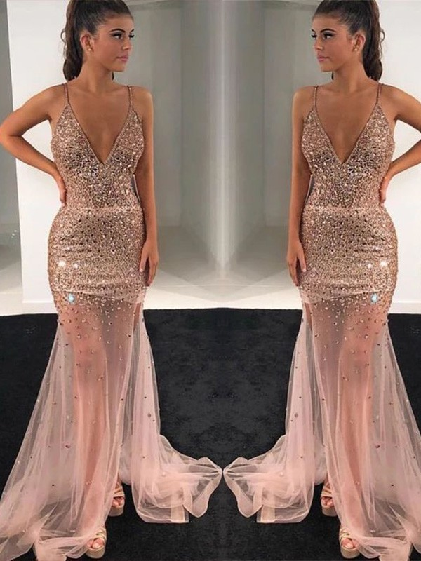 Just My Style A-Line Tulle Paillette V-neck Long Train Champagne Prom Dresses