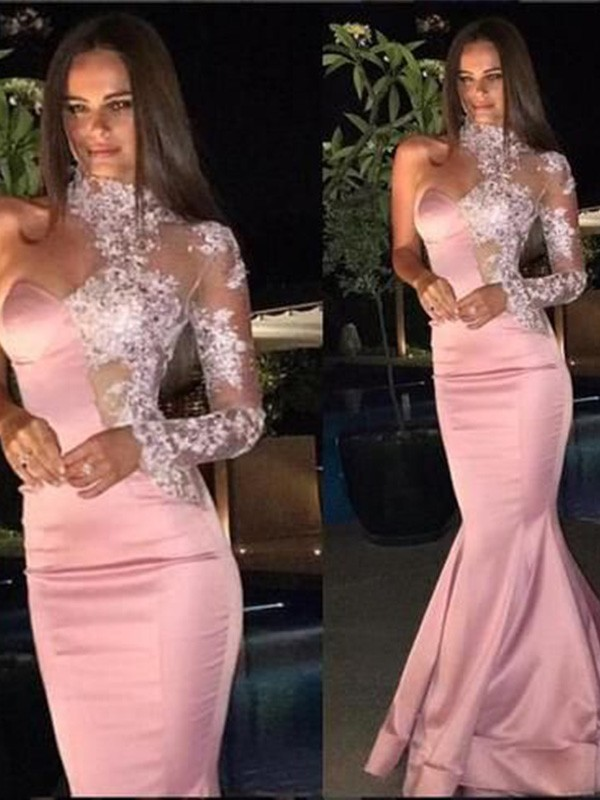 Just My Style Trumpet Satin Applique One-Shoulder Long Train Pink Prom Dresses