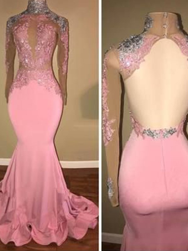 Just My Style Trumpet High Neck Jersey Applique Long Train Pink Prom Dresses