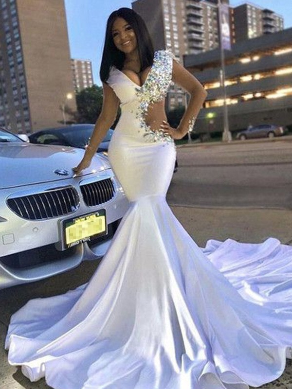 Just My Style Trumpet Satin Beading V-neck Court Train White Prom Dresses