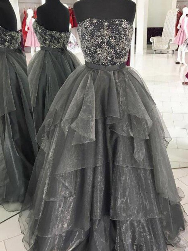 Just My Style Ball Gown Beading Strapless Long Organza Grey Prom Dresses