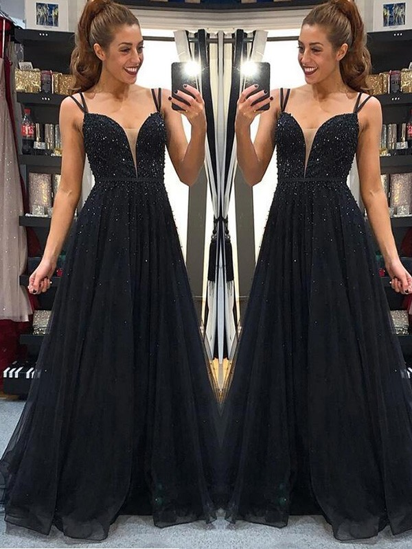 Just My Style A-Line Tulle Spaghetti Straps Beading Long Black Prom Dresses