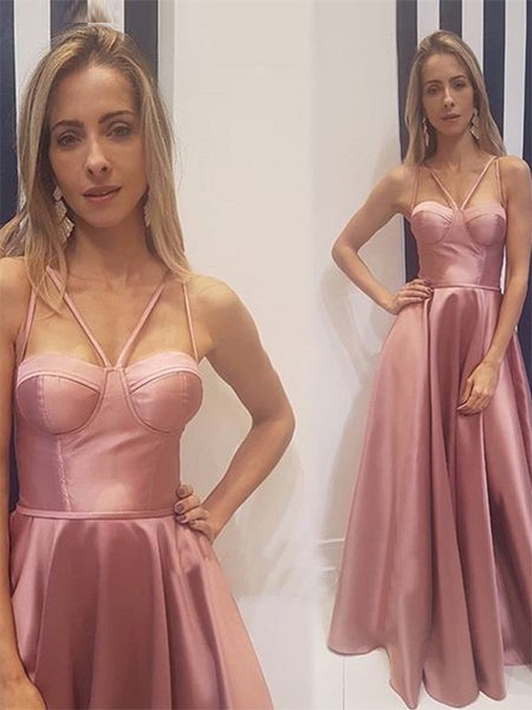Just My Style A-Line Ruffles Satin Long Spaghetti Straps Pink Prom Dresses