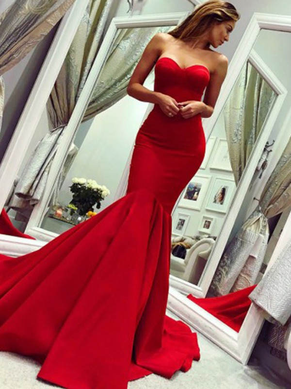 Dancing Queen Trumpet Ruffles Strapless Court Train Satin Red Prom Dresses