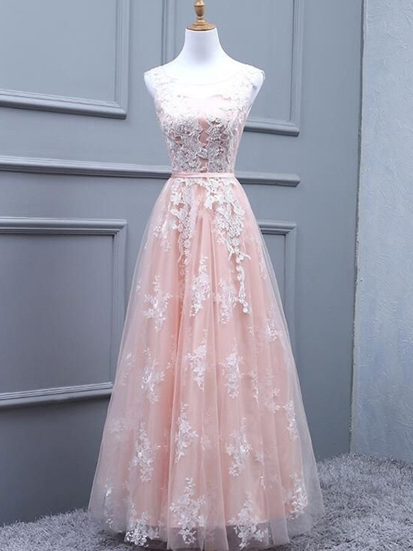 Dancing Queen A-Line Tulle Scoop Long Applique Pearl Pink Prom Dresses