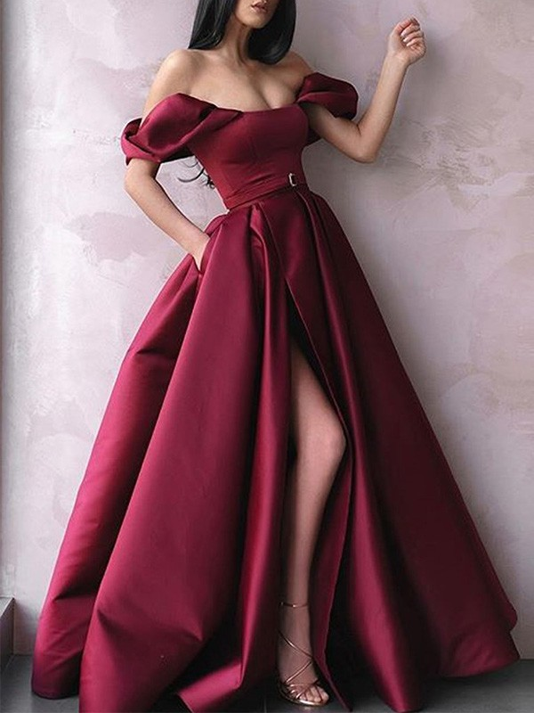 Dancing Queen A-Line Sash/Ribbon/Belt Off-the-Shoulder Satin Long Burgundy Prom Dresses