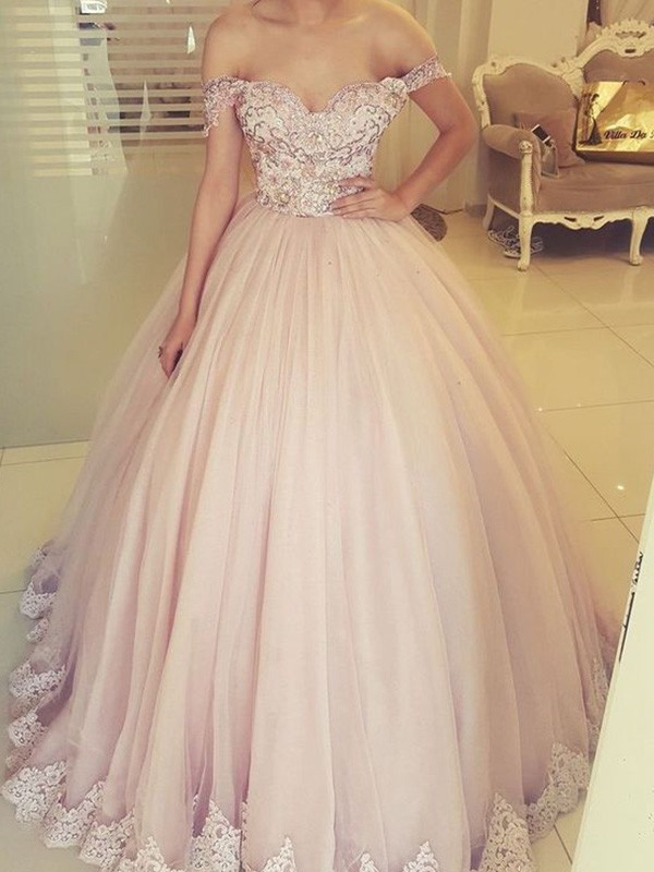 Chic Chic London Ball Gown Off-the-Shoulder Long Tulle Applique Pearl Pink Prom Dresses