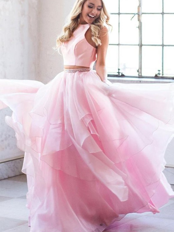 Chic Chic London A-Line Beading Scoop Tulle Long Two Piece Pink Prom Dresses
