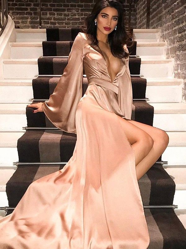 Chic Chic London A-Line V-neck Satin Long Train Ruched Champagne Prom Dresses