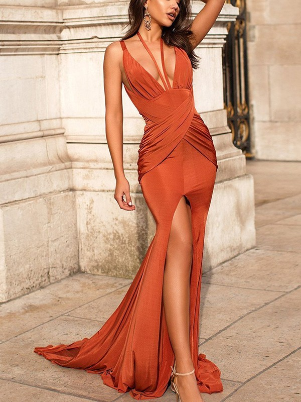 Chic Chic London Trumpet Ruched Satin V-neck Long Train Orange Prom Dresses