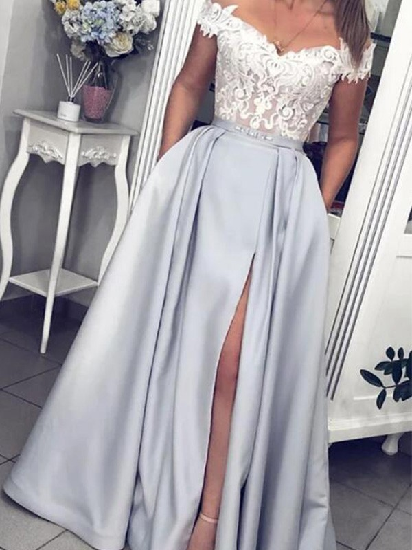 Chic Chic London A-Line Satin Lace Off-the-Shoulder Long Silver Prom Dresses