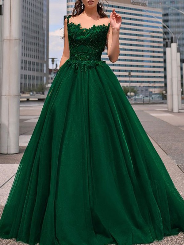 Chic Chic London A-Line Bateau Tulle Beading Long Dark Green Prom Dresses