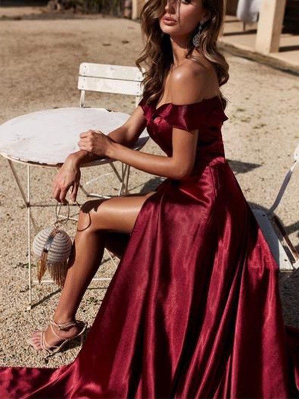 Chic Chic London A-Line Off-the-Shoulder Satin Ruffles Court Train Burgundy Prom Dresses