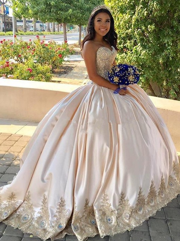 Just My Style Ball Gown Beading Sweetheart Long Train Satin Prom Dresses