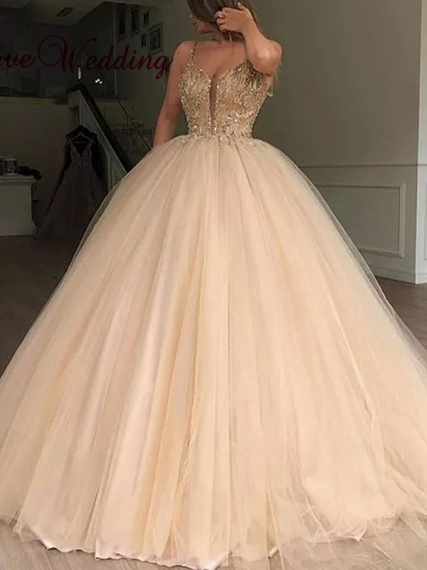 Just My Style Ball Gown V-neck Tulle Beading Long Prom Dresses
