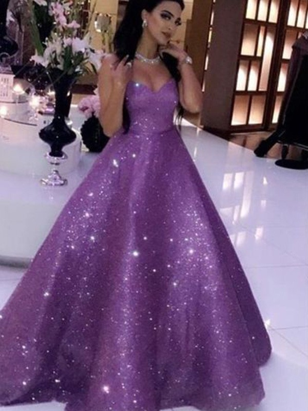 Chic Chic London Ball Gown Sequins Sweetheart Sleeveless Ruffles Sweep/Brush Train Prom Dresses
