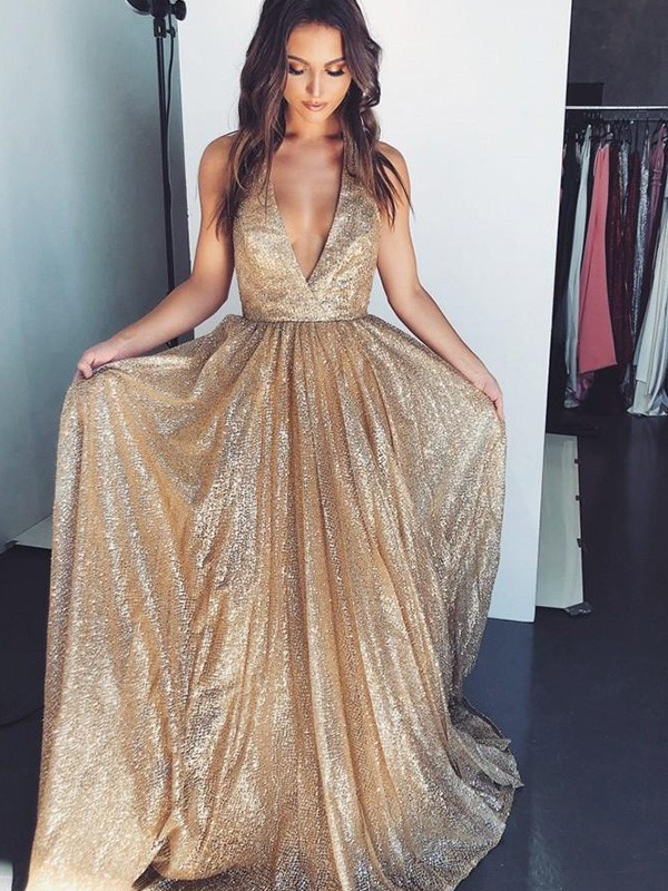 Absolute Lovely A-Line/Princess V-neck Sleeveless Ruffles Sweep/Brush Train Sequins Prom Dresses