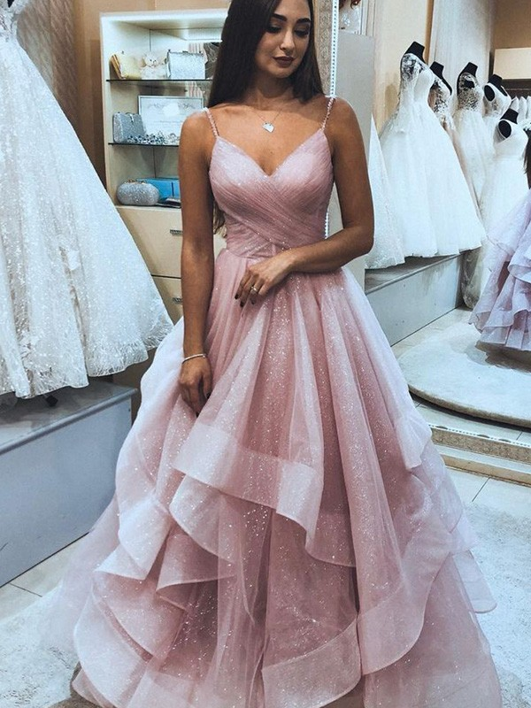 Absolute Lovely A-Line/Princess Organza Spaghetti Straps Sleeveless Ruffles Floor-Length Prom Dresses