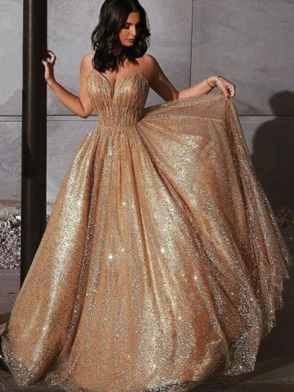 Dancing Queen A-Line/Princess Spaghetti Straps Tulle Sequin Sleeveless Sweep/Brush Train Prom Dresses