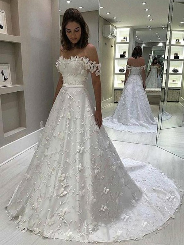 Beautiful You A-Line/Princess Satin Off-the-Shoulder Applique Sleeveless Sweep/Brush Train Wedding Dresses