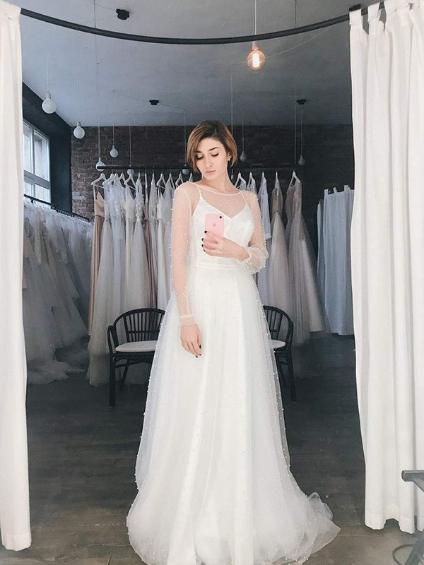 Beautiful You A-Line/Princess Tulle Beading Scoop Long Sleeves Sweep/Brush Train Wedding Dresses