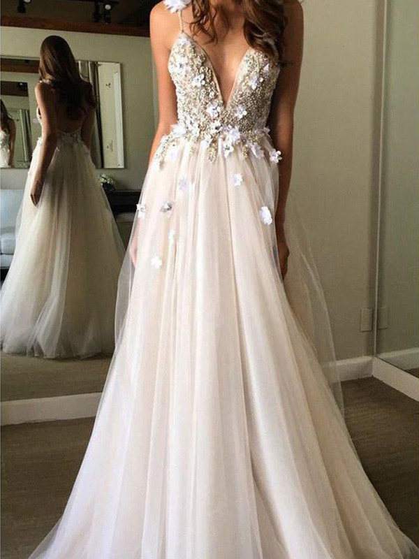 Easily Adored A-Line/Princess Tulle Beading V-neck Sleeveless Floor-Length Wedding Dresses