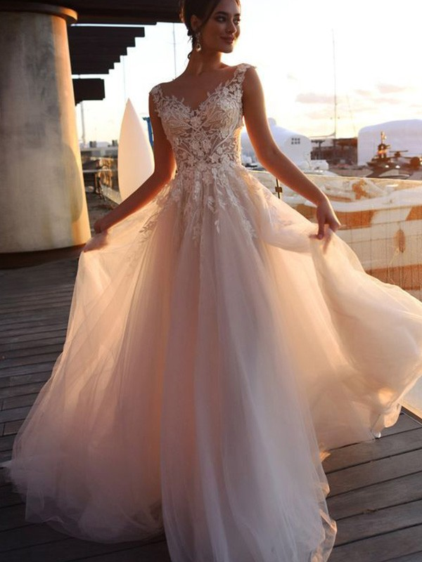 Easily Adored A-Line/Princess Bateau Applique Short Sleeves Sweep/Brush Train Tulle Wedding Dresses