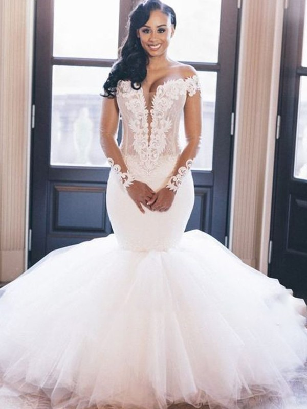 Trumpet/Mermaid Off-the-Shoulder Long Sleeves Applique Tulle Floor-Length Wedding Dresses